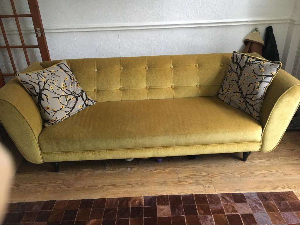 DFS mikado mustard yellow retro sofa
