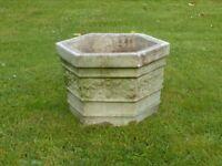 Superb Vintage Cast Stone Hexagon Shaped Garden Planter Strawberry Detail