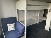 White Stompa high rise bed with desk and futon