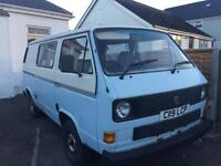 Volkswagen transporter camper van 1986 c reg 2.0 petrol low miles needs attention