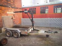 Knott Avonride 2700kg Plant Mini Digger Trailer With Swing Lift Crane