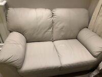 New 2 seater light grey leather sofa urgent