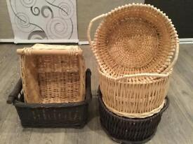5 wicker storage baskets