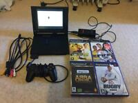Slimline PlayStation 2 with 8inch screen (very rare) 4 games, official controller all wires