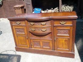Vintage, large, heavy wooden sideboard/ unit .