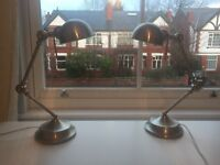 Pair of brushed chrome anglepoise style table/desk lamps