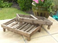 Pair of French antique rustic wooden garden fruit/veg storage trays