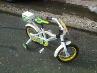 """Childs Bicycle - hardly used, 14""""wheel with sabilisers. Great condition. £35 07876256391"""
