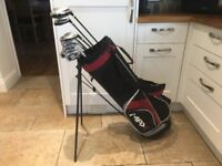 Golf clubs - full matching set of Driver, 3 Wood, Rescue Club, Irons, Putter, Golf Bag, Glove & more