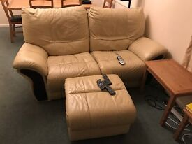 Electric reclining two seater leather sofa and three seater manual recliner