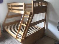 Bunkbed. (Solid Oak) Very good clean condition.