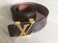 Genuine Louis Vuitton monogram luxurius mens leather belt 38/95