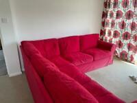 EKTORP IKEA red corner sofa