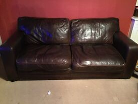 Chocolate brown leather sofa- 3 seater
