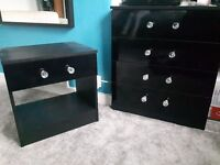 High gloss bedroom matching wardrobe and drawers