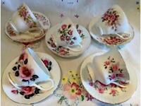 5 BEAUTIFUL PINK ROSE VINTAGE ENGLISH BONE CHINA TEA SET CUPS AND SAUCERS