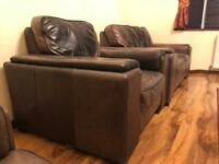 Genuine leather Italian sofa set- 3 seater plus single armchair