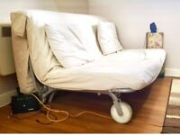 Two seater Ikea PS Sofa bed Havet White V good clean mattress converts to king bed, pet/smoke free