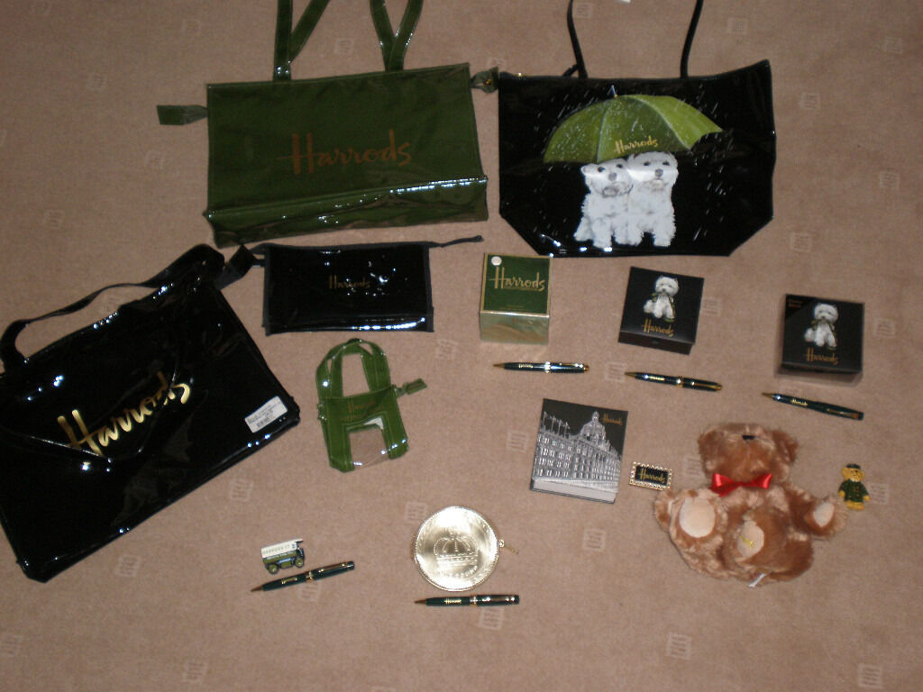 SOUVENIR HARRODS ITEMS - PENS , BAGS , TOTE BAG , FRIDGE MAGNET , TEDDY BEAR , NOTE PADS ,