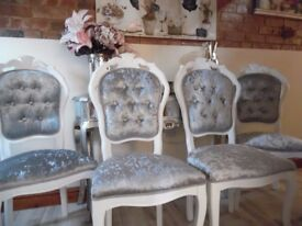 4 White Louis Style Chairs in Silver/Grey Crushed Velvet - 50% deposit