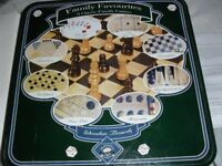 FAMILY FAVOURITES CLASSIC 9 GAMES WITH WOODEN BOARDS IN LOVELY TIN FROM DEBENHAMS
