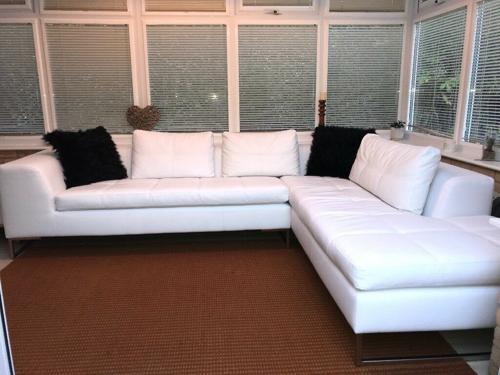 Dwell Vienna Faux Leather White Right Hand Corner Sofa With