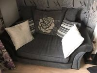 3 SEATER AND CUDDLER CHAIR, PLUS LARGE STORAGE FOOTSTOOL .
