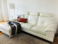 Stylish White Leather 3-seater Sofa with ChaiseStylish White Leather 3-seater Sofa with Chaise Long