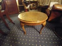 Round occasional table copper topped