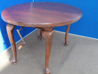 Brown Victorian dining table with winder handle (Delivery)