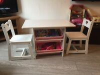 Table and chairs with storage