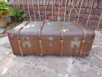 Vintage Brown Featherweight Flaxite Fibre Trunk / Coffee Table