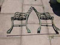 2 x pairs of cast iron bench ends with stretcher rods £10 per pair