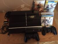 Sony PlayStation 3 80 GB Piano Black Console + 2 Controllers, 3 Games and Cables (3)