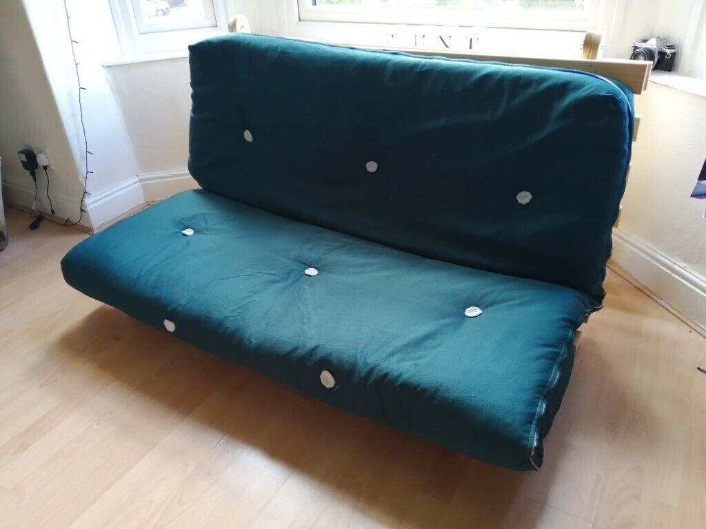 Solid Pine Double Green Futon Bed