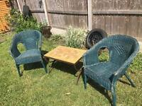 Vintage Garden table and wicker chairs