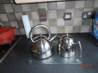 Chrome kettle and teapot