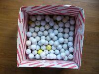 Box of 100 used golf balls - Titleist, Top Flight, Maxfli, Ultra, Pinnacle and others.