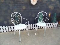 2 VINTAGE WHITE GARDEN / BISTRO METAL CHAIRS NO TABLE AVAILABLE VERY SOLID CHAIRS