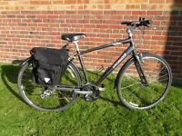 AS NEW 'HYBRID' HIGH PERFORMANCE LIGHT WEIGHT BIKE WITH 24 GEARS & COMFY SADDLE FOR LONG RIDES.
