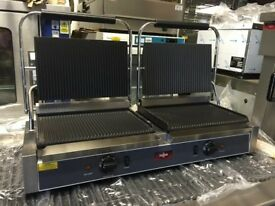 LARGE TWIN PANINI CONTACT GRILL CATERING COMMERCIAL KITCHEN EQUIPMENT FAST FOOD RESTAURANT SHOP