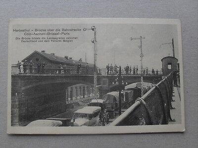Belgien Herbesthal gel. 1915 Feldpost Brücke über Bahnstrecke Oldtimer Bahnhof