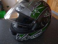 Motor bike helmet and gloves