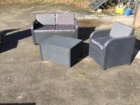 Black rattan furniture set