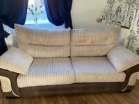Cord beige 3 seater & snuggle chair sofa