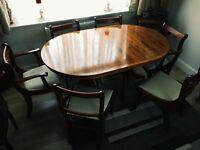 Genuine Wooden Dining Table with 6 chairs (SET)