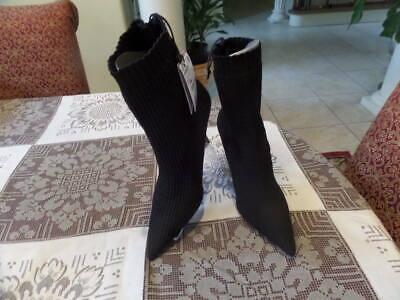 New Zara Black Sock Elastic Heel Booties Size 6.5M
