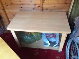 Solid TV stand with cabinet Italian finished