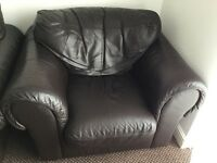BROWN TRUE LEATHER 3 SEATER SOFA AND ARMCHAIR FOR SALE