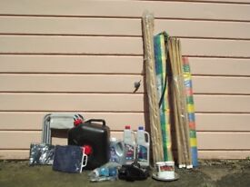 Selection of caravan accessories, windbreakers, pink and blue toilet flush, waste container